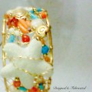 Wired Free Form Cuff Coral, Carnelian, Turquoise Magneste, White Lave Bracelet $179