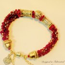 Ruby Red & Gold Beaded Rope Bracelet With Swarovski  Crystal $89
