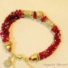 Ruby Red & Gold Beaded Rope Bracelet With Swarovski  Crystal $89
