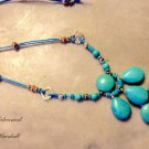 "Artisan Crafted Turquoise & Blue Leather 36"" long pendant Necklace $119"