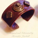Rustic Artisan Crafted Leather Cuff Bronze Celtic Style Embellishments Bracelet $49