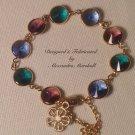 Emerald Green, Sapphire Blue, and Amethyst Purple Swarovski Rivoli Link Bracelet $49