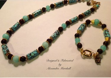 Vibrant Blue Green Amazonite, Brown Lava Rock Matrixed Magnesite Necklace & Bracelet Set $132