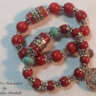 Tibetan Coral and Antique Silver Bracelet Set $92