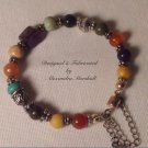 Antique Silver Plate Multi Gemstone Bracelet $39