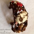 Tribal Artisan Crafted Bronze Wired Pink Opal & Howlite Tan & Cream Jaspar Bracelet $169