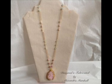 Pretty Pastel Pink Druzy Pendant Baby Blue & Sea Foam Green Beryle Necklace $139