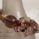 Bronze and rose Colored Swarovski Crystal and Smoky Quartz Bracelet $69