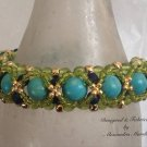 Turquoise, Lapis, and Peridot Czech Glass Bracelet 14K Gold Filled 4139