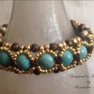 Turquoise, Brown Jaspar and Gold Beaded Bracelet $79