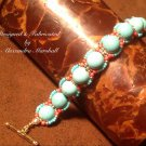 Turquoise Magnesite Corle and Gold Toggle Clasp Bracelet $59