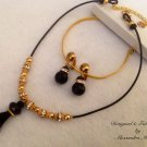 Black Onyx Swarovski Crystal Tassel Necklace and Earring Set $89