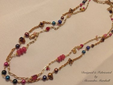 Jewel Toned Freshwater Pearls 18KT Gold Overlay Pink Jade Czech Glass Necklace $89