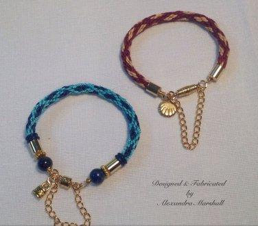 Pair of Kumihimo Braided Blue & Garnet Bracelets $29