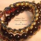 Set of 3 Stacking Bracelets Parika and turquoise Leather Black Jade 14KT Gold Overlay $89