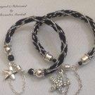 Black & Silver 16 Warp Kumihimo Bracelets 2 piece set $59