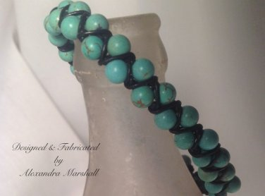 Double Strand Beaded Turquoise Magnesite Hand Knotted Leather Bracelet $29