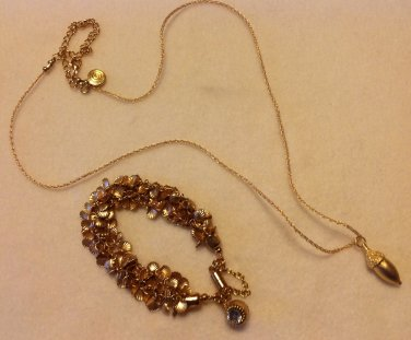 Nature Themed Florentine Gold Plate Pendant Necklace & Bracelet Set $114