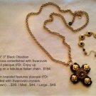 Black Obsidian Maltese Cross Pendant Necklace Only $194
