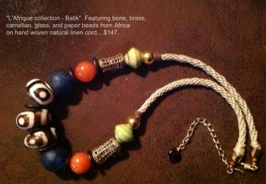 "Artisan Crafted Tribal 18""-22"" African Brass, Paper, Bone, Carnelian Kumihimo Necklace $129"
