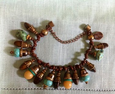 Talisman Charm Bracelet Faux Amber, Turquoise, Magnesite, Bronze Beads & Brown Leather $54