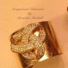 Vintage Blink Forge Brass and Gold Leaf Antique Crystal Brooch Bracelet $94