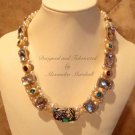 "18"" Long Swarovski Pearls and Crystal Chatons Gold Leaf Clay Bezels Necklace $254"
