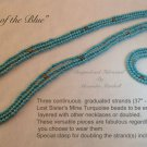 Three Continuous Strands Turquoise Bead Necklaces $104