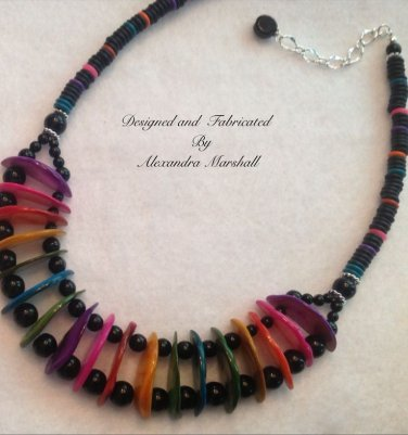 Rainbow Contemporary Collar Multi Color Mother of Peral Shell Crescents Necklace $69