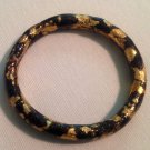 Artisan Black and Hand Applied Gold Leaf Clay Bangle Bracelet $49
