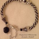 Black and White Silver Embellishment Kumihimo Cord Bracelet $59