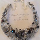 Striking Swarovski Crystal Sterling Silver Crocheted Wire Statement Necklace $189.