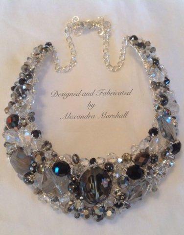 Striking Swarovski Crystal Sterling Silver Crocheted Wire Statement Necklace $189.