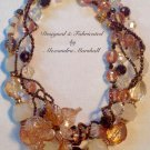 Artisan Crafted Pink, Frost, & Bronze Crystal Intertwined Necklace $229.