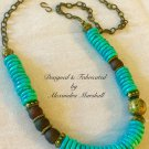 Turquoise Magnesite & Brown Krobo Glass Convertable Necklace $109.