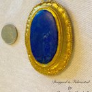 Artisan Crafted Large Matte Blue Lapis & Gold Finish Pendant $69.