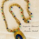 Companion Egyptian Scarab Pendant & Red-Orange, Blue & Turquoise set of two Necklaces $259.