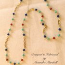 "36"" Gemstone Chain w/ Blue, Orange-Red, & Turquoise $119."