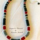 Hand Woven Beaded Crimson Tide Rope Necklace $169.