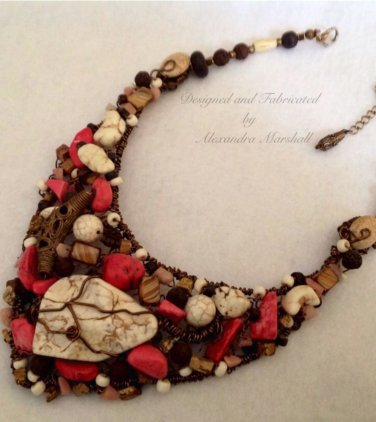 Hand Crafted Pink, Cream, and Brown Tribal Bib Necklace $189.