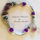 Artisan Crafted Purple Gemstone, Pearl, & Silver Bracelet