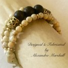 Safari Brown Ebony & Ivory Tone Gemstone & Brass Bracelet $42.