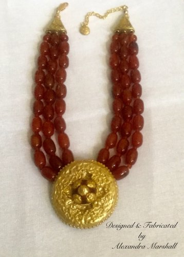 Tibetan Style Triple Strand Red Gemstone, Resiin, & Gold Finish Necklace