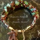 Green & Brown Gemstone Kumihimo Woven Bracelet W/Copper  & Brass