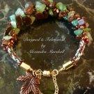 Green & Brown Gemstone Kumihimo Woven Bracelet W/Copper  & Brass