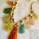 Multicolored Silver Wire Wrapped Sea Glass Necklace