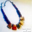 Chunky Multicolored Natural Rhyolite Gemstone  Necklace