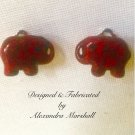 Crimson Tide Red Elephant Earrings