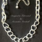 Crystal Encrusted Chain Link Silver Tone Necklace