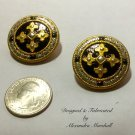 Big Black Gold & Silver Tone Button Stlye w/ Byzantine Cross Earrings w/ Cllips or Posts